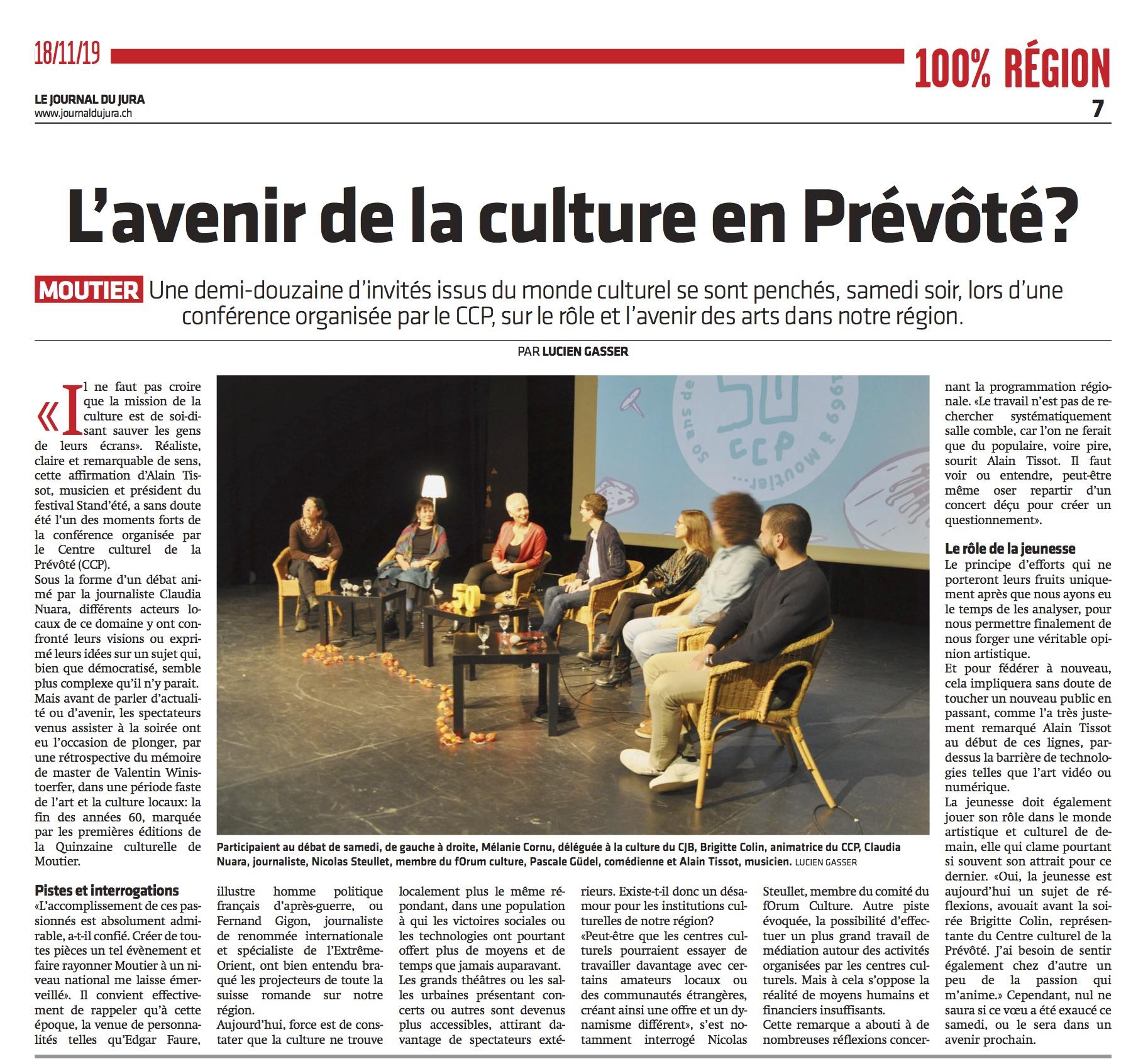 L'article du JdJ sur la table ronde organisée samedi soir à Moutier